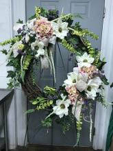 Magnolia Wreath with pink accents