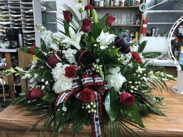 Red and white table arrangement