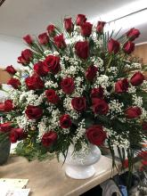 Three dozen Red Roses in Urn