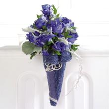 Glittered Blue-Dyed Rose Pew Decoration