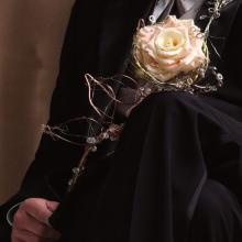 Composite Rose with Wire and Jewel Stem